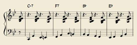 右手でヴォイシング、左手でベースラインの例